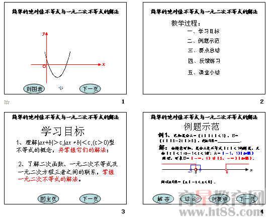 《简单的绝对值不等式与一元二次不等式的解法》ppt
