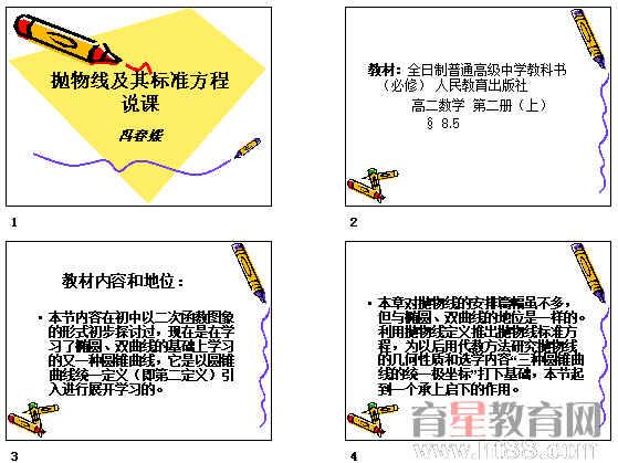 抛物线及其标准方程 ppt15 说课