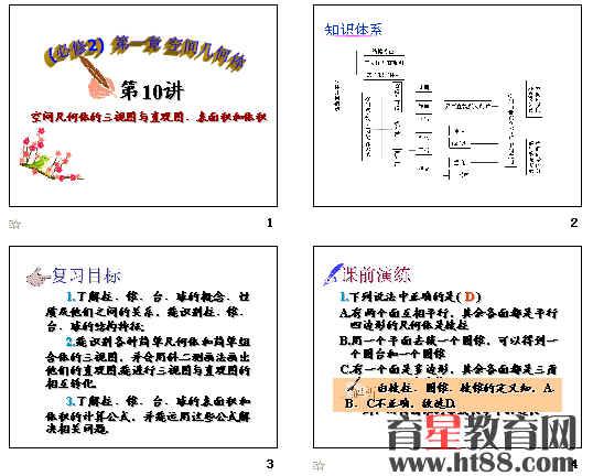 高中数学必修2复习课件ppt(空间几何体