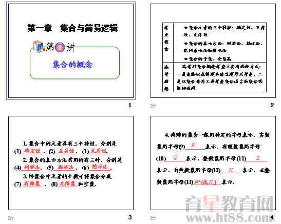 2012届高中总复习(第1轮)理数ppt(集合的概念等13章117份)